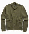 Italian Merino Wool Sweater Jacket in Olive