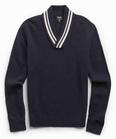 Tipped Shawl Collar Sweater in Navy
