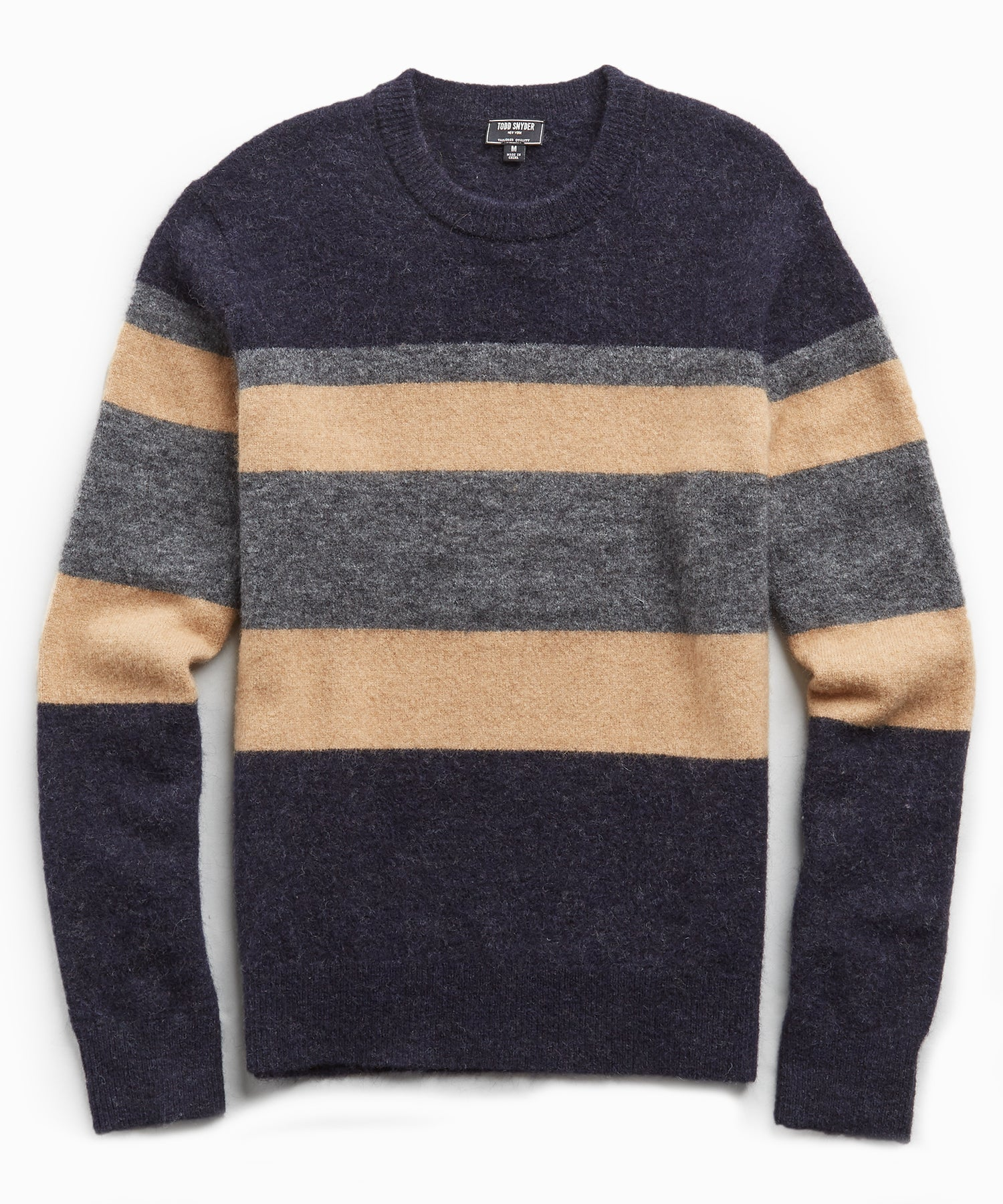 Multi Stripe Alpaca Crew in Camel/Navy