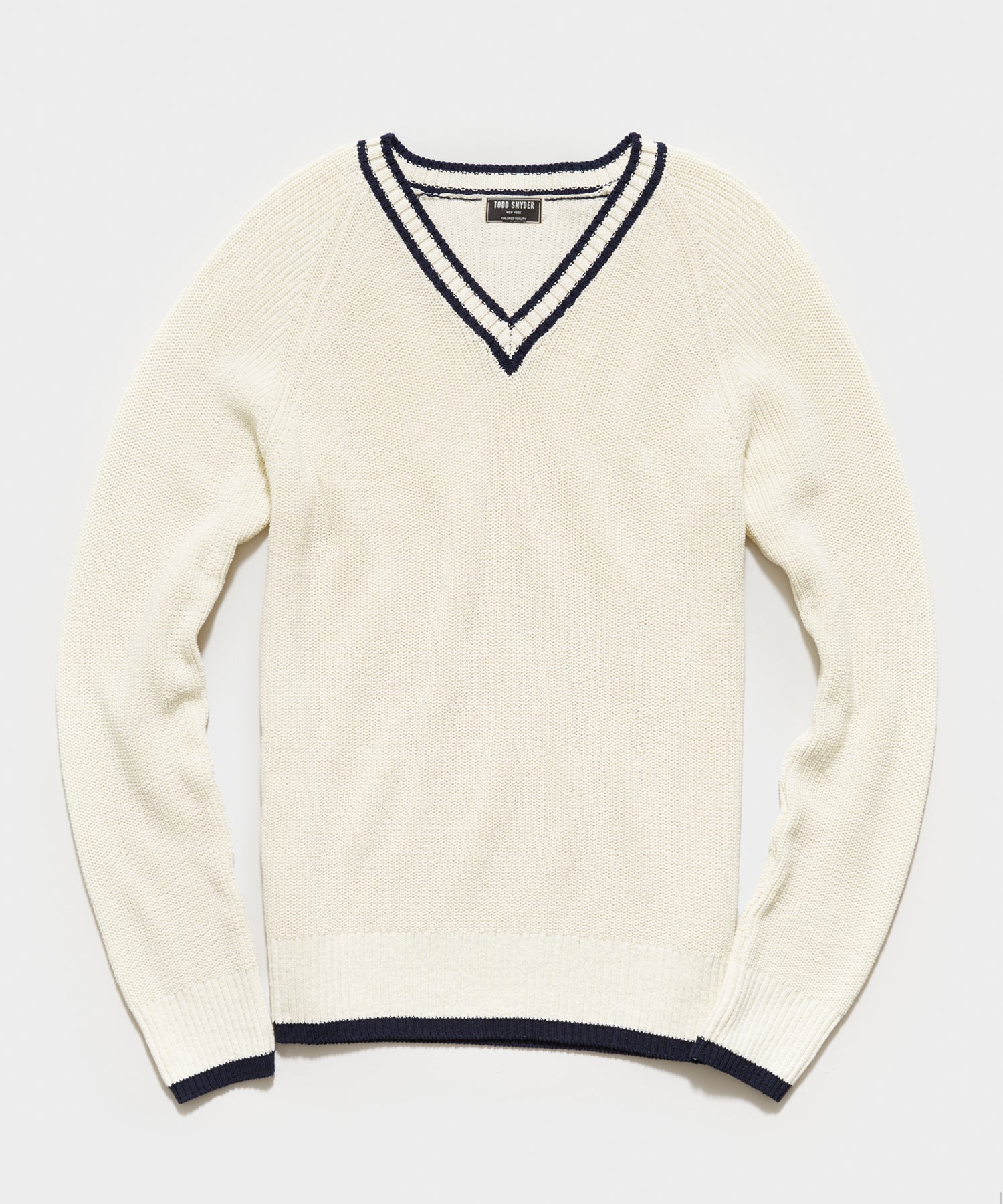 Italian Cotton Cricket Sweater in Ivory