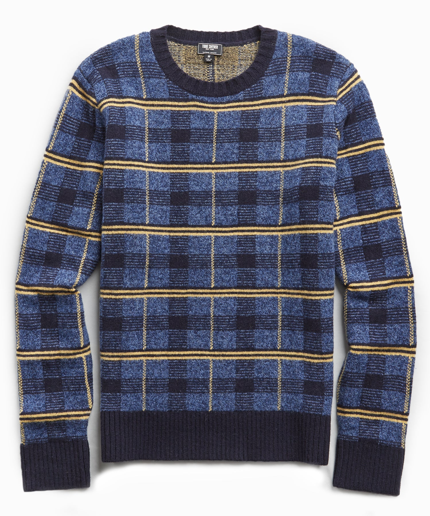 Lambswool Check Crew in Blue