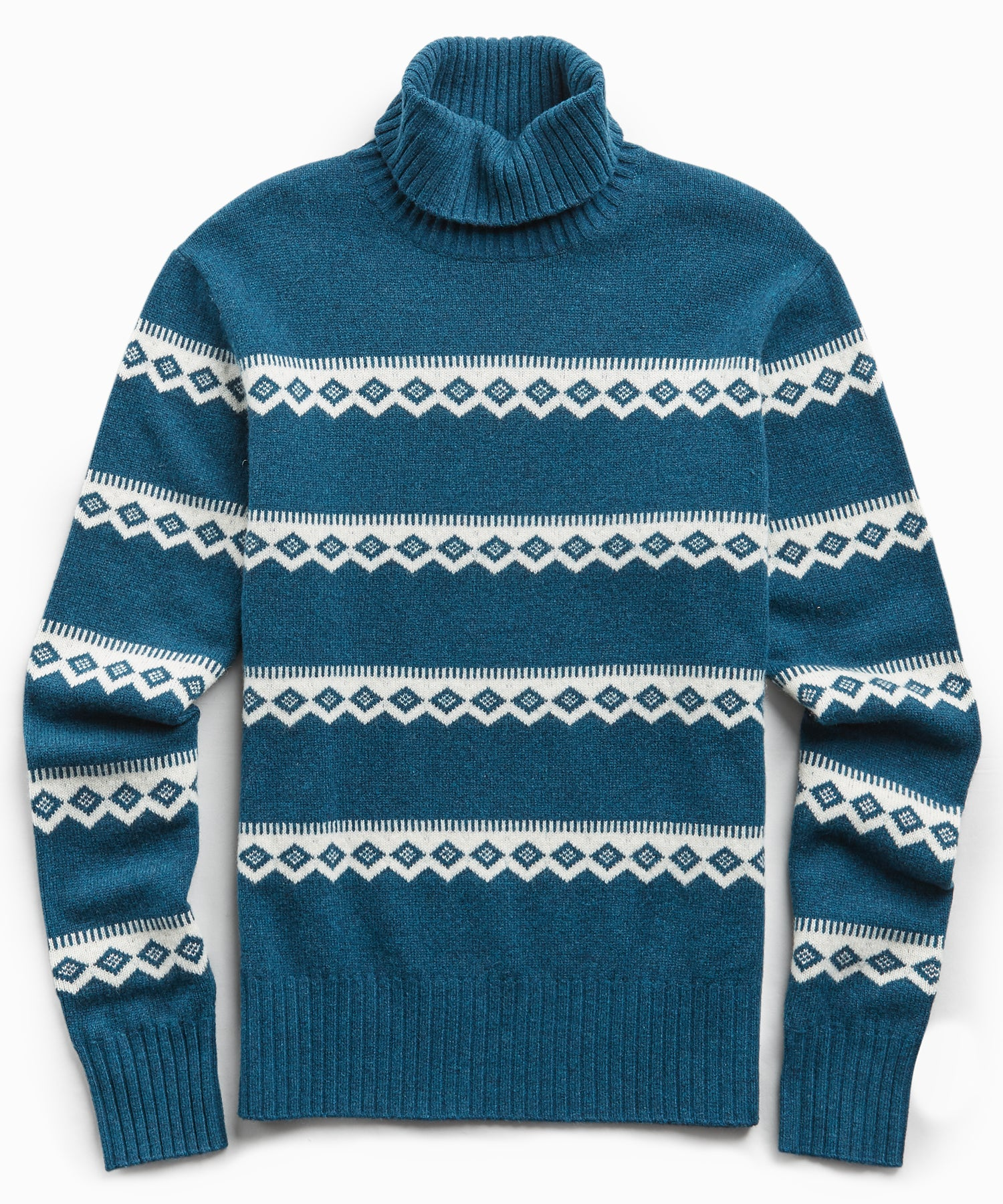Wool Fairisle Turtleneck in Petrol