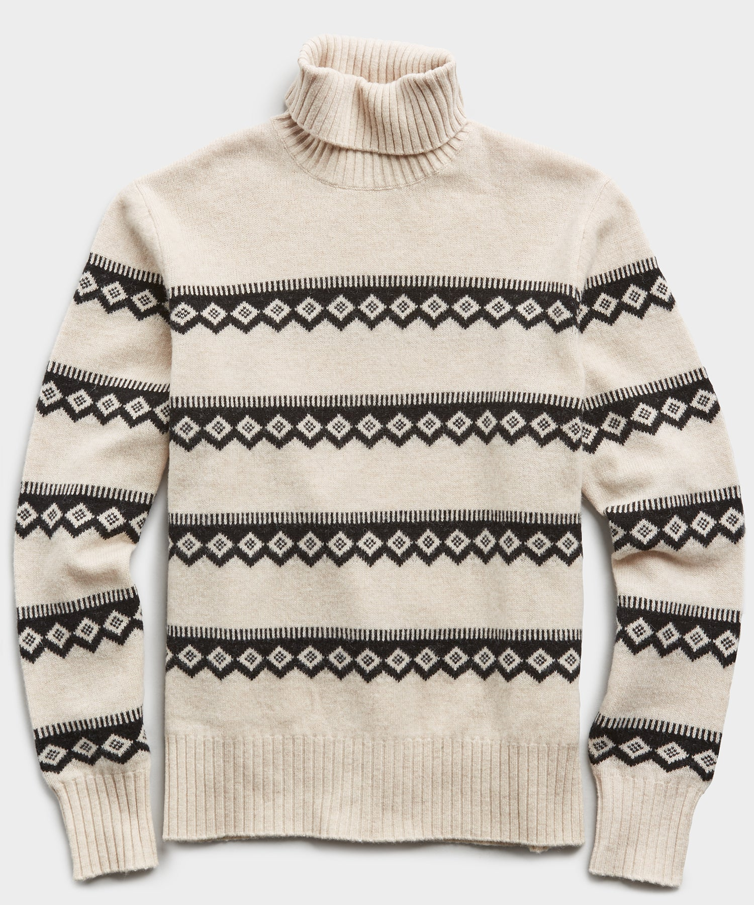 Wool Fairisle Turtleneck in Cream