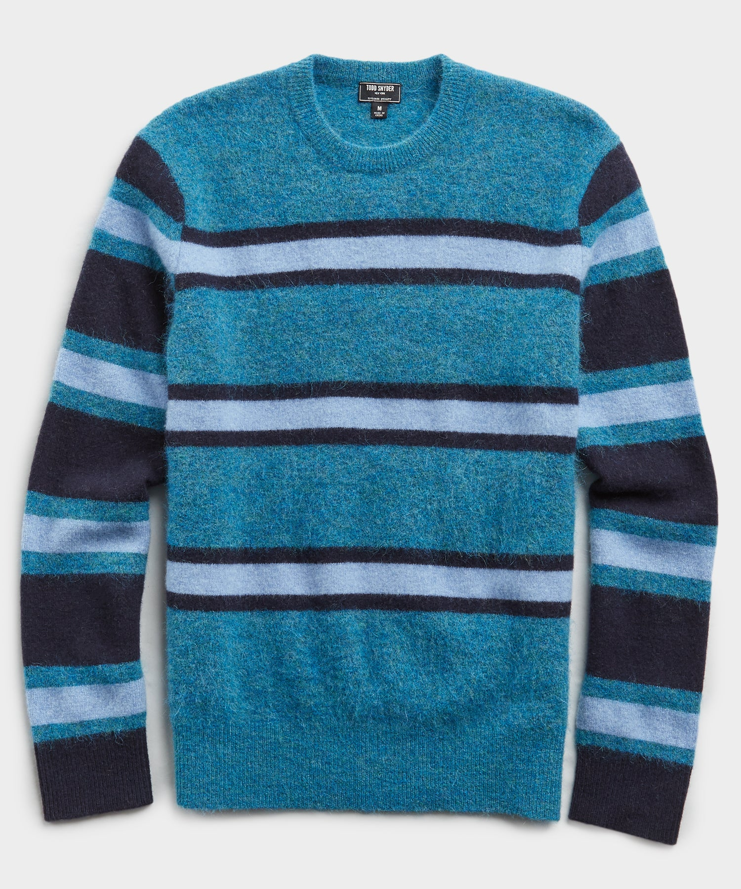 Color Block Alpaca Wool Sweater in Teal