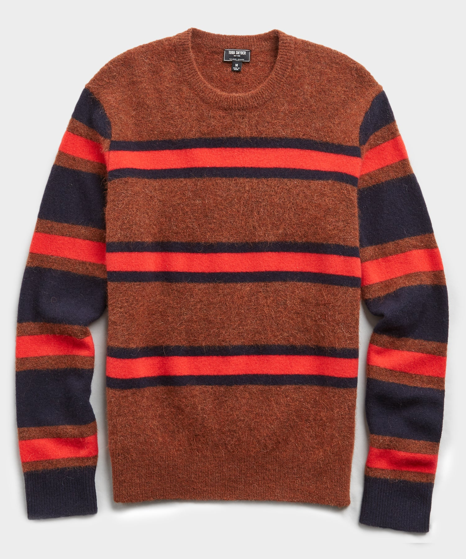 Color Block Stripe Alpaca Sweater in Rust