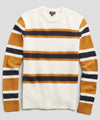Color Block Stripe Alpaca Wool Sweater in Ivory