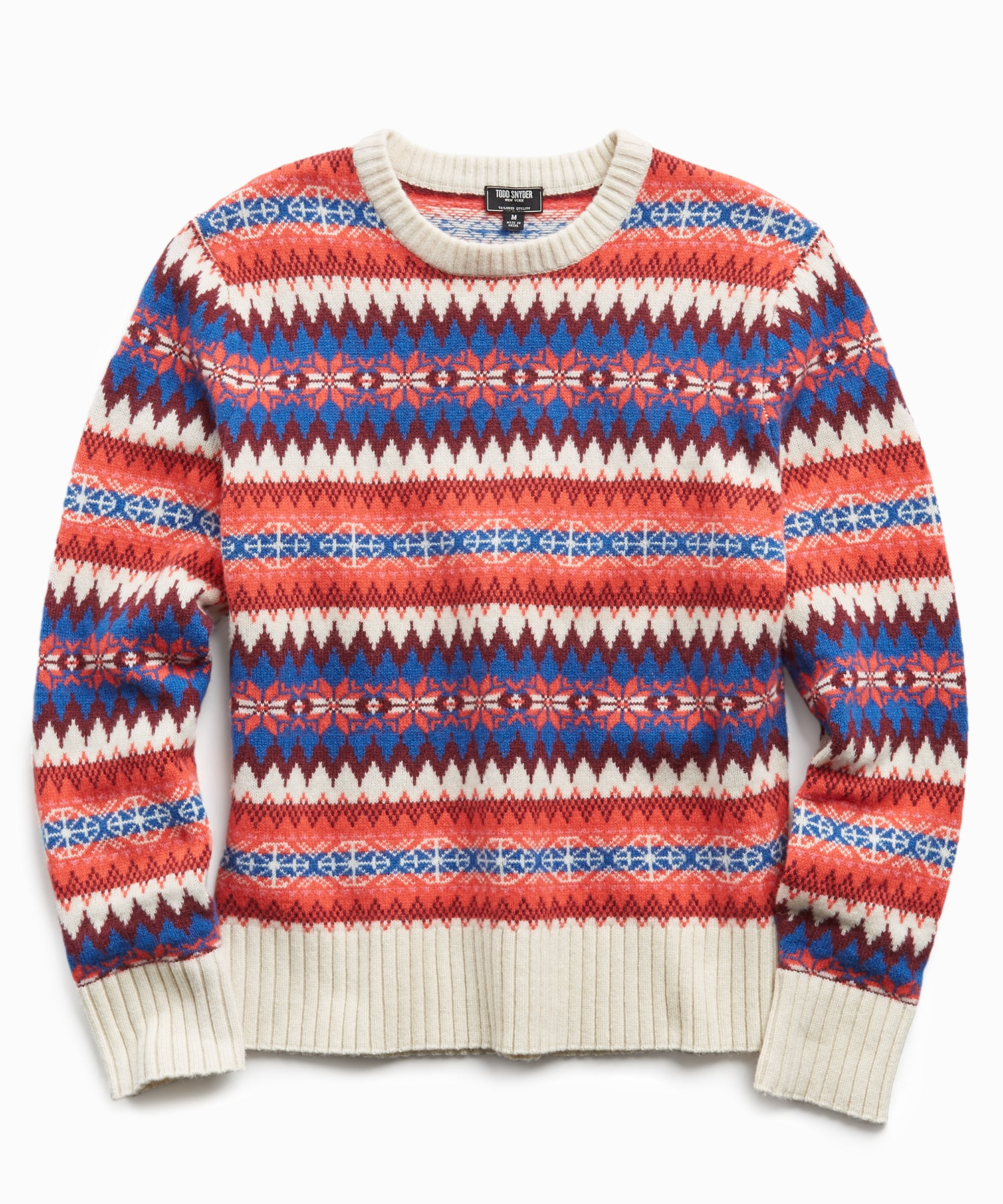 Wool Fairisle Crewneck Sweater in Rose