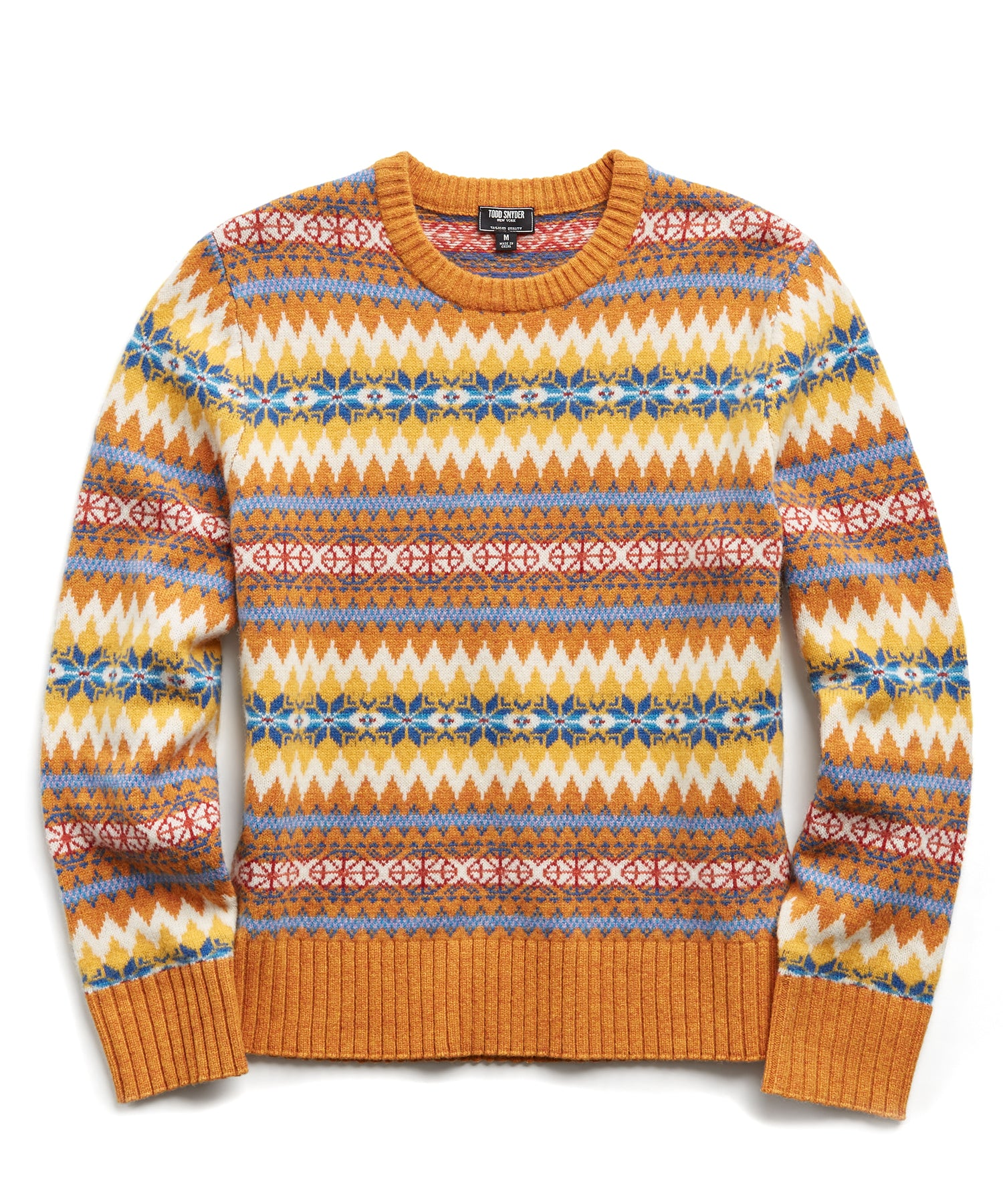 Wool Fairisle Crewneck Sweater in Gold