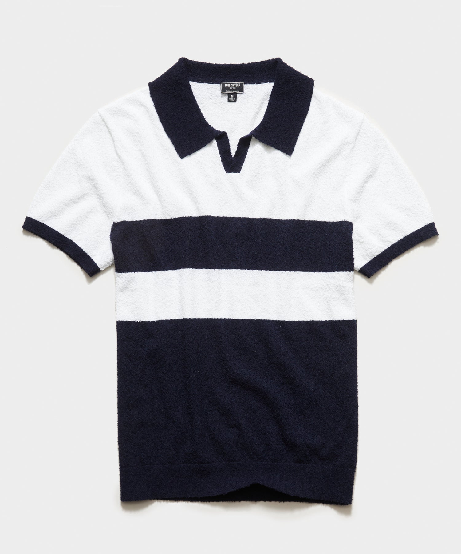 Short Sleeve Boucle Johnny Collar Polo in White