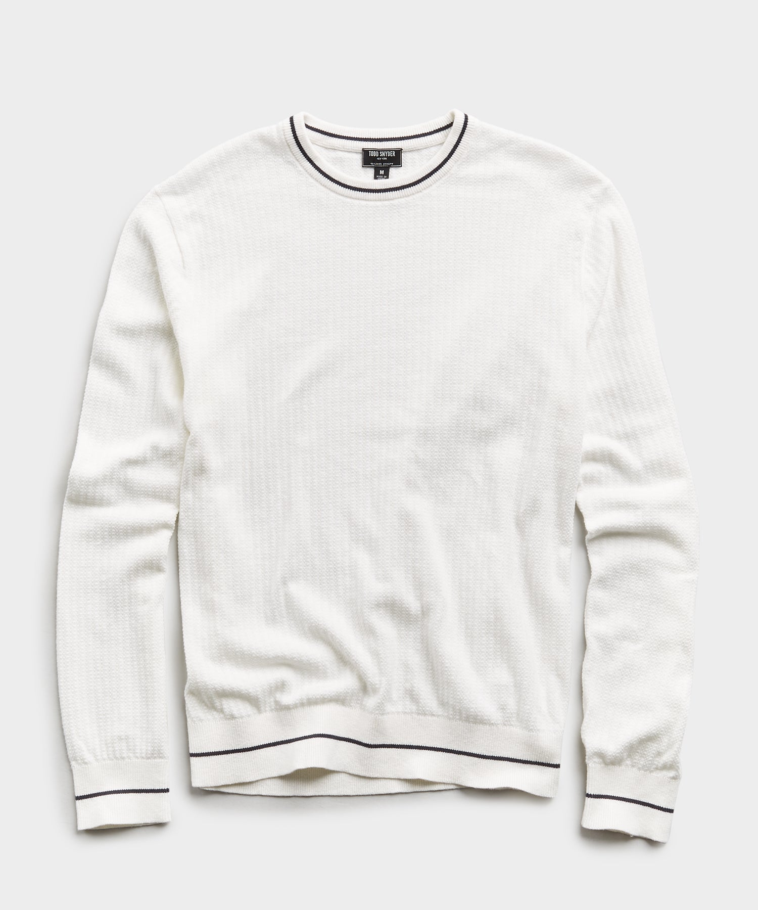 Textured Tipped Sweater in White
