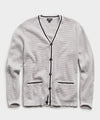 Cotton Cashmere Waffle Stitch Tipped Cardigan in Grey