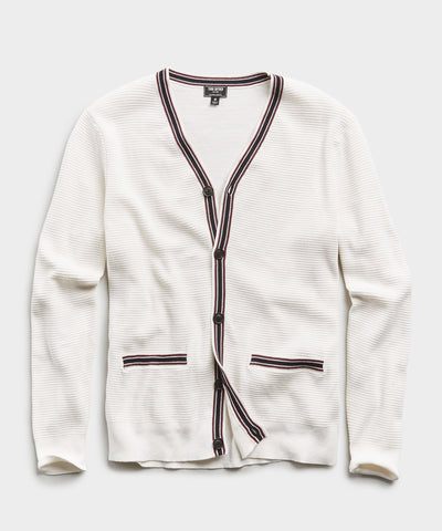 Cotton Cashmere Waffle Stitch Tipped Cardigan in White