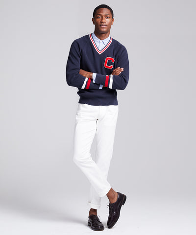 Champion V-Neck Cricket Sweater in Navy