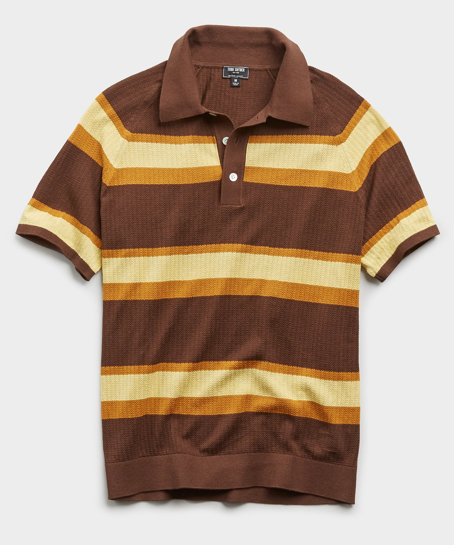 Horizontal Stripe Mesh Polo Sweater in Brown