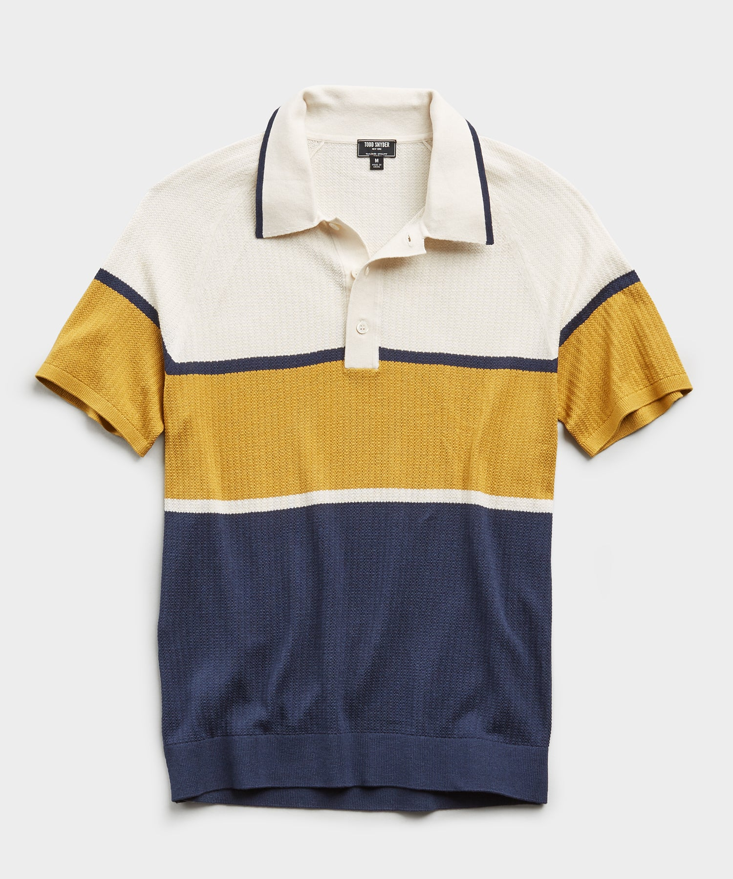 Mesh Tricolor Cotton Silk Polo Sweater