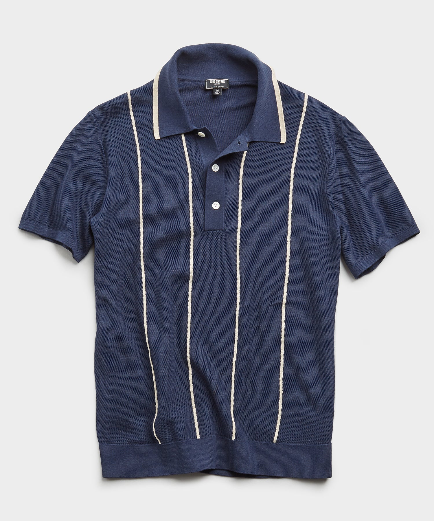Tipped Wide Stripe Mesh Polo Sweater in Navy