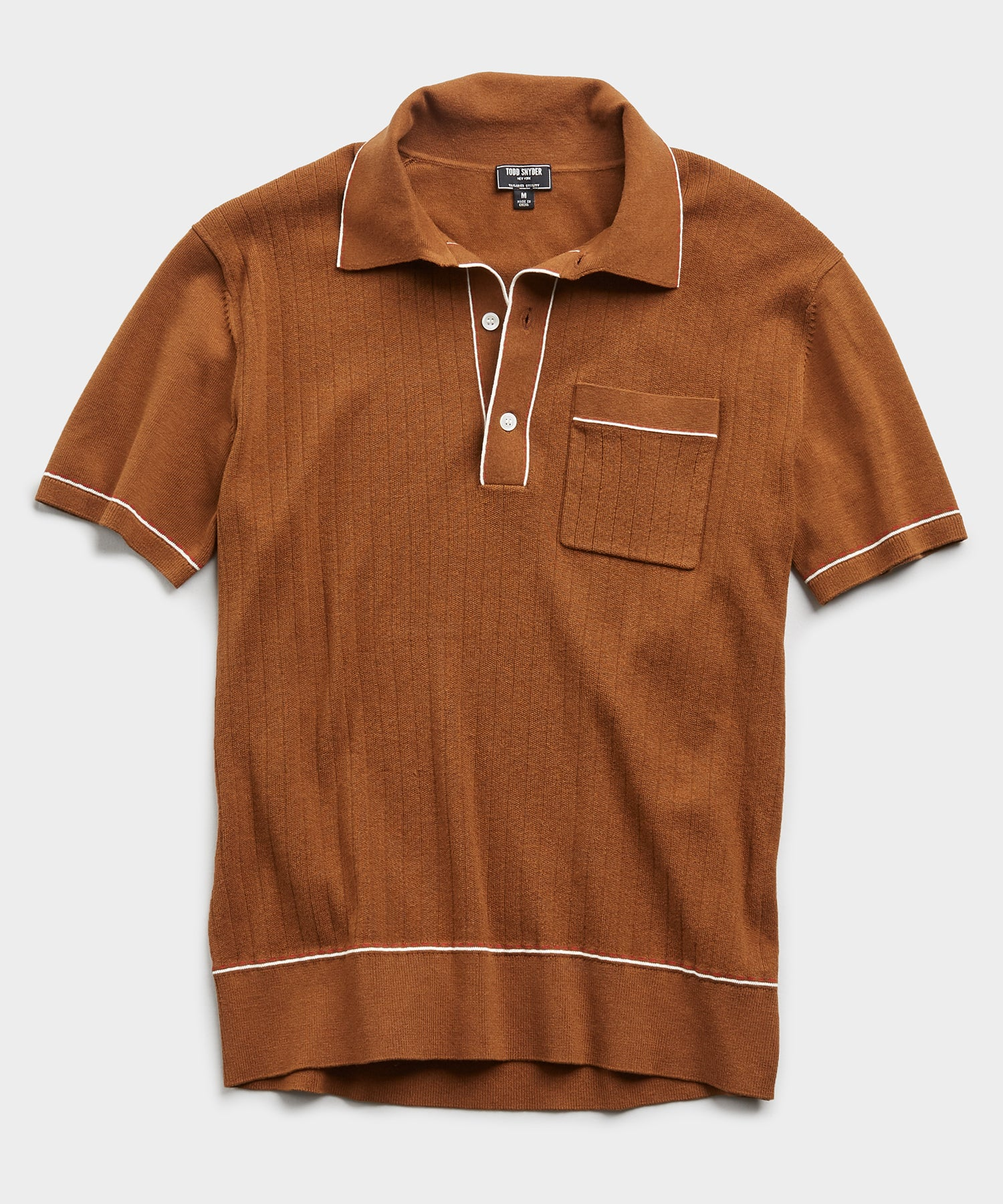 Italian Cotton Silk Tipped Ribbed Polo Sweater in Chestnut