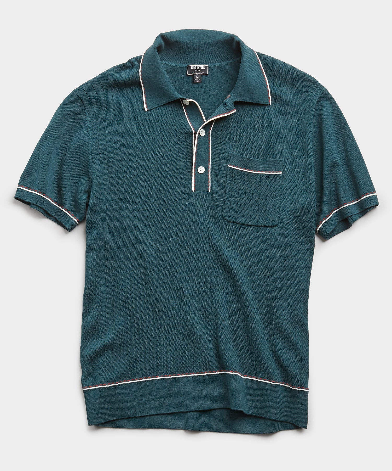 Italian Cotton Silk Tipped Ribbed Polo Sweater in Storm Green