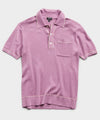 Italian Cotton Silk Tipped Ribbed Polo Sweater in Lavender