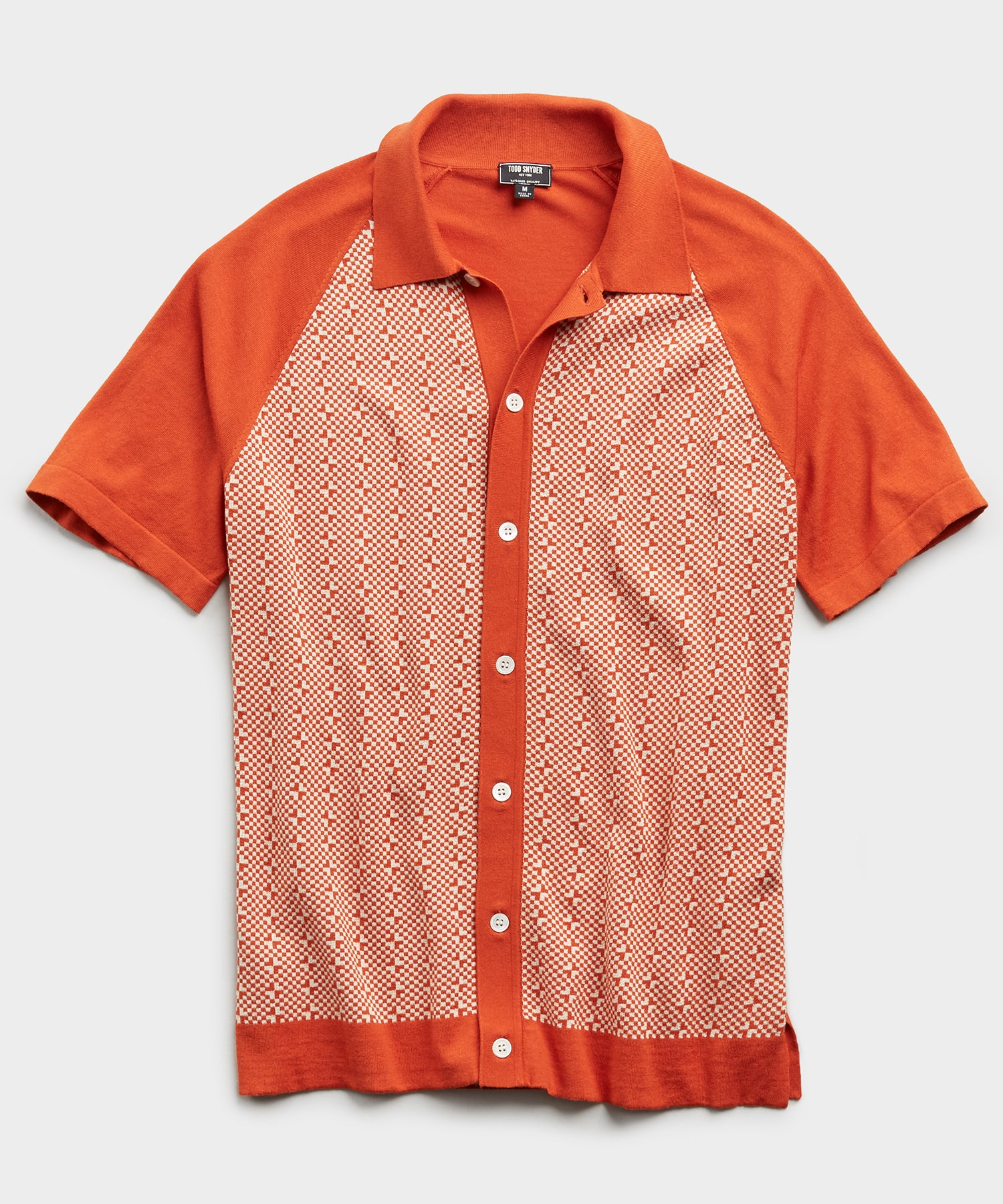 Italian Checkered Full Placket Polo in Orange