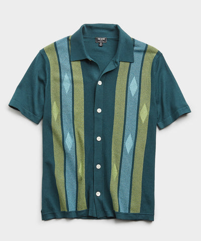 Italian Striped Argyle Button Down Polo Sweater in Storm Green