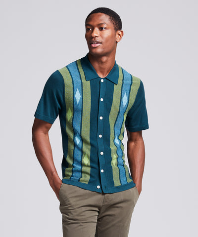 Italian Striped Argyle Button Down Polo in Storm Green