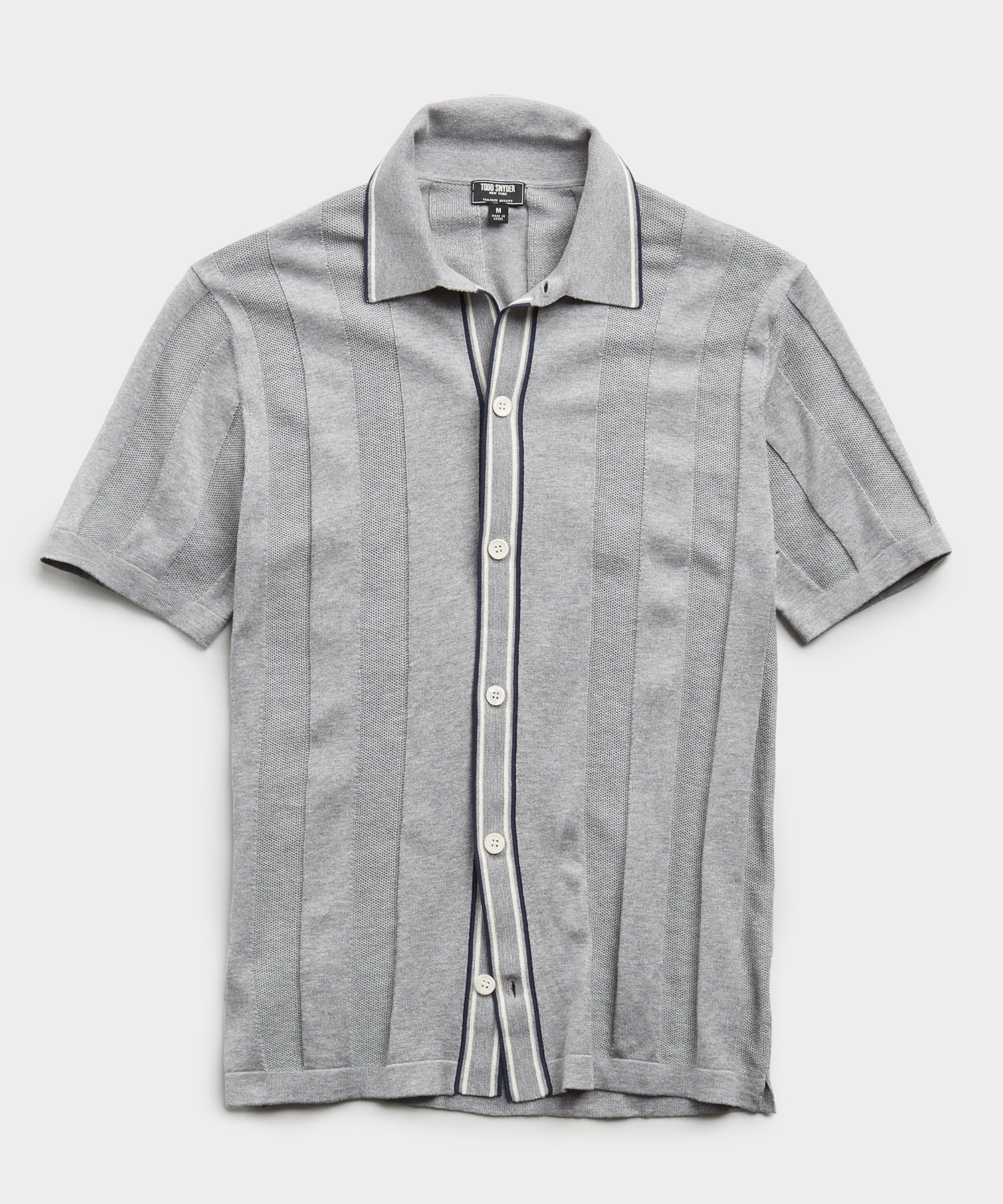 Italian Cotton Silk Tipped Ribbed Button Down Polo in Heather Grey