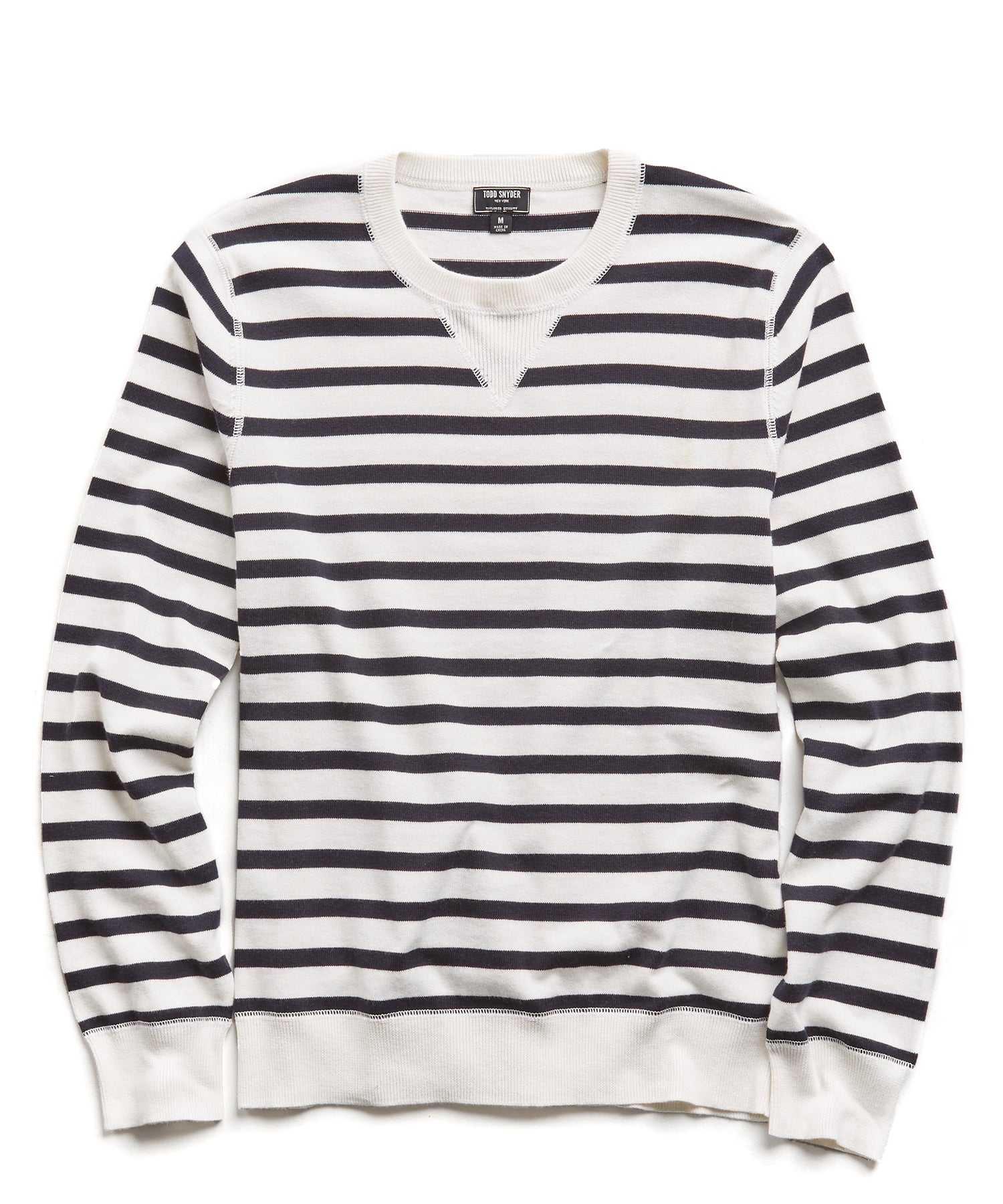 Cotton Cashmere Stripe Sweater in Navy/White