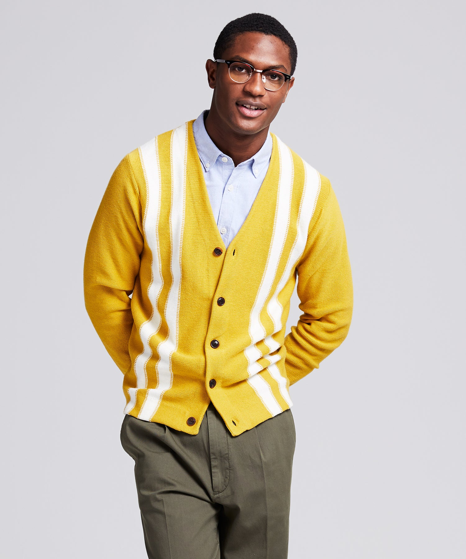 Retro Stripe Cardigan in Chartreuse