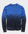Dip Dye Textured Cotton Crew Sweater in Navy