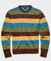 Striped Mohair Crew in Olive