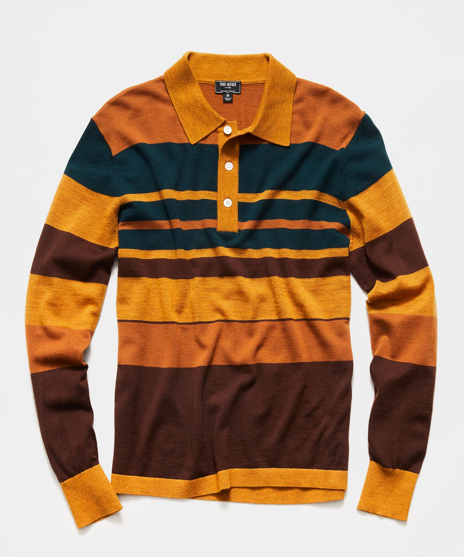 Italian Long Sleeve Merino Stripe Polo in Mustard