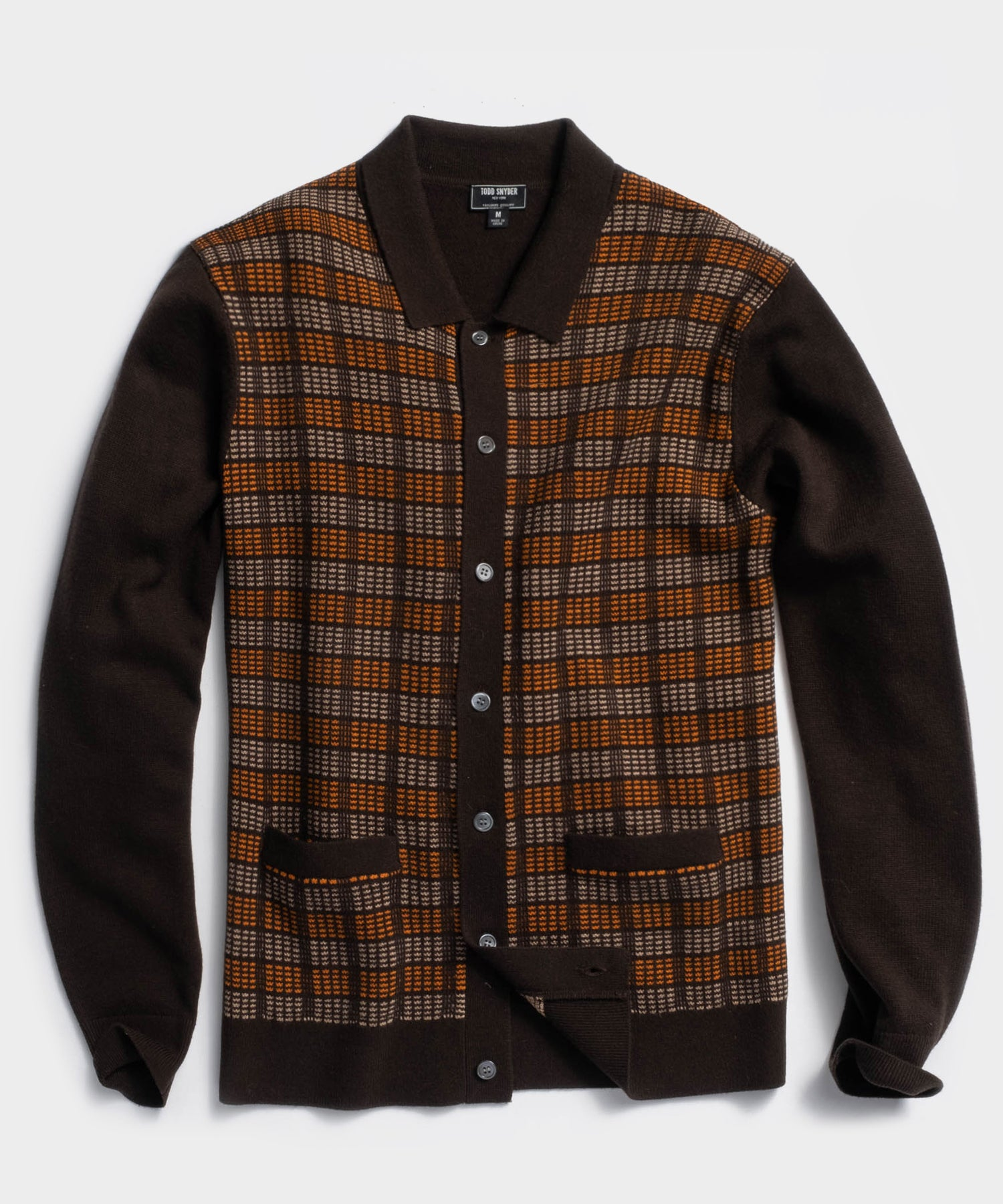 Italian Merino Sweater Polo Cardigan in Brown