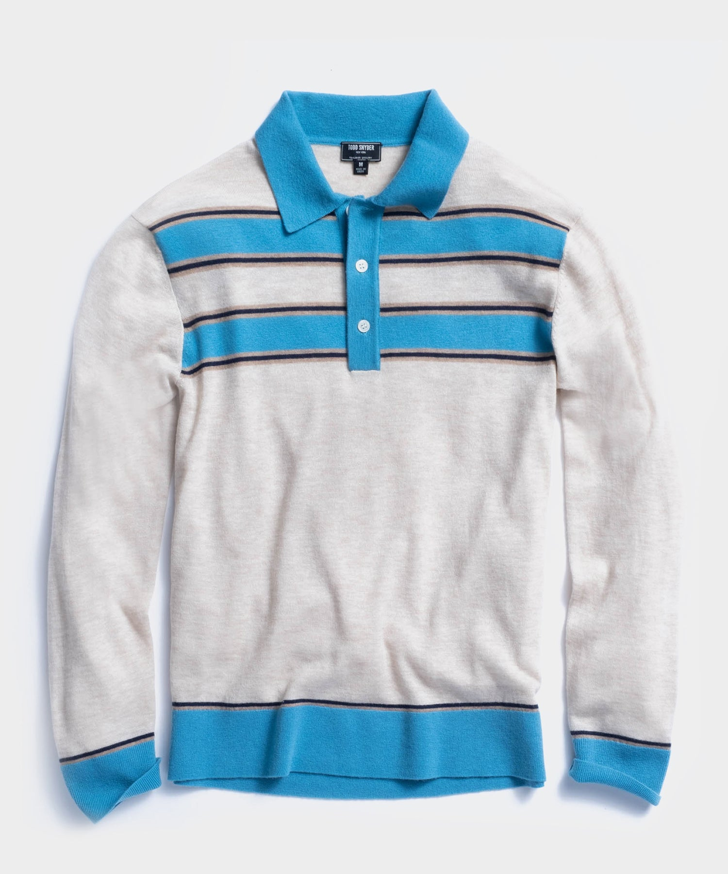 Long Sleeve Stripe Sweater Polo in Cream