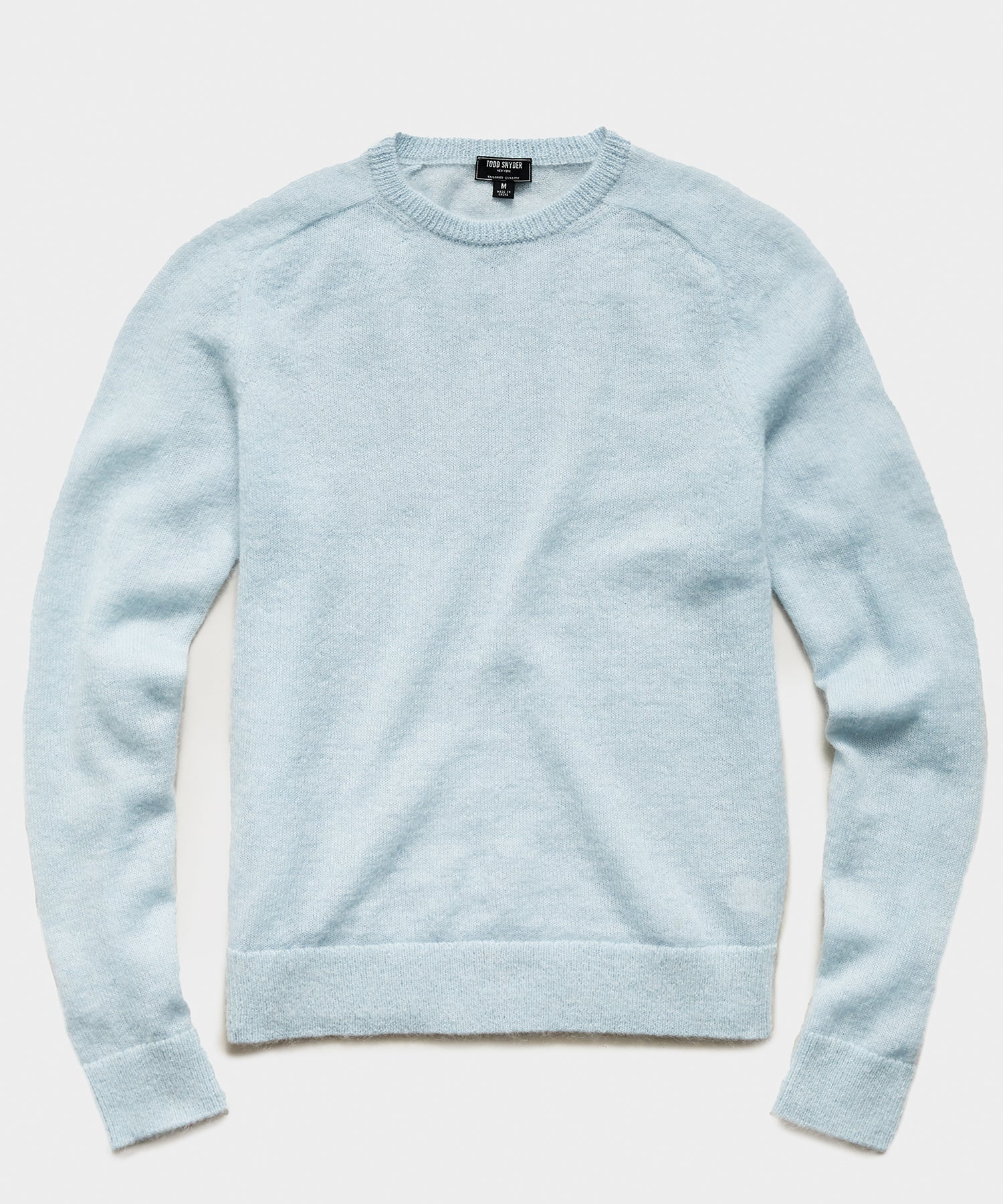 Brushed Italian Mohair Wool Sweater in Light Blue