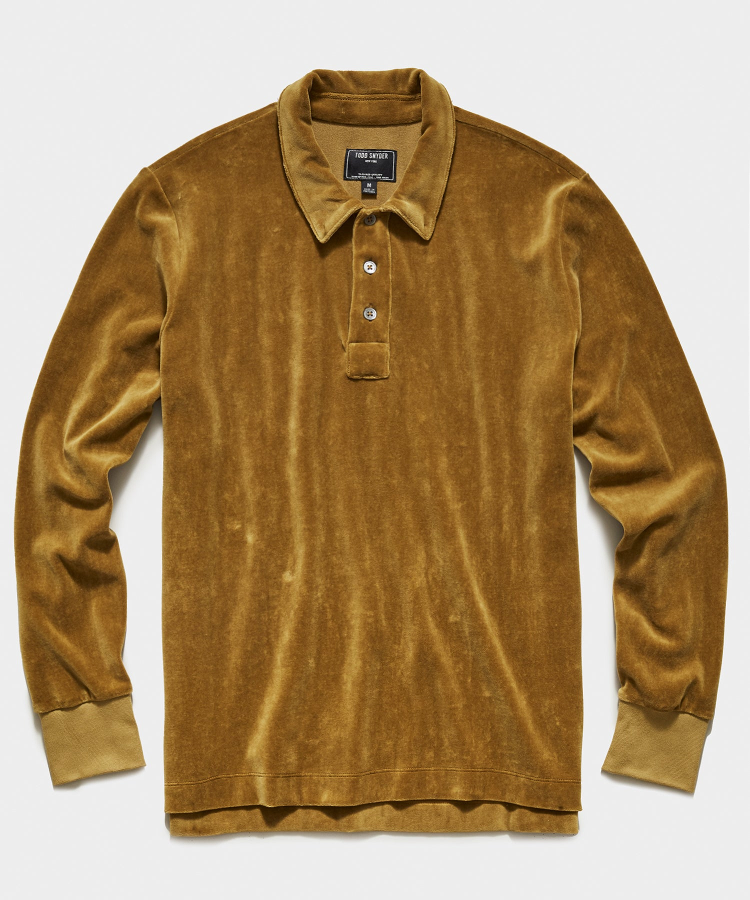 Velour Long Sleeve Polo in Ocre