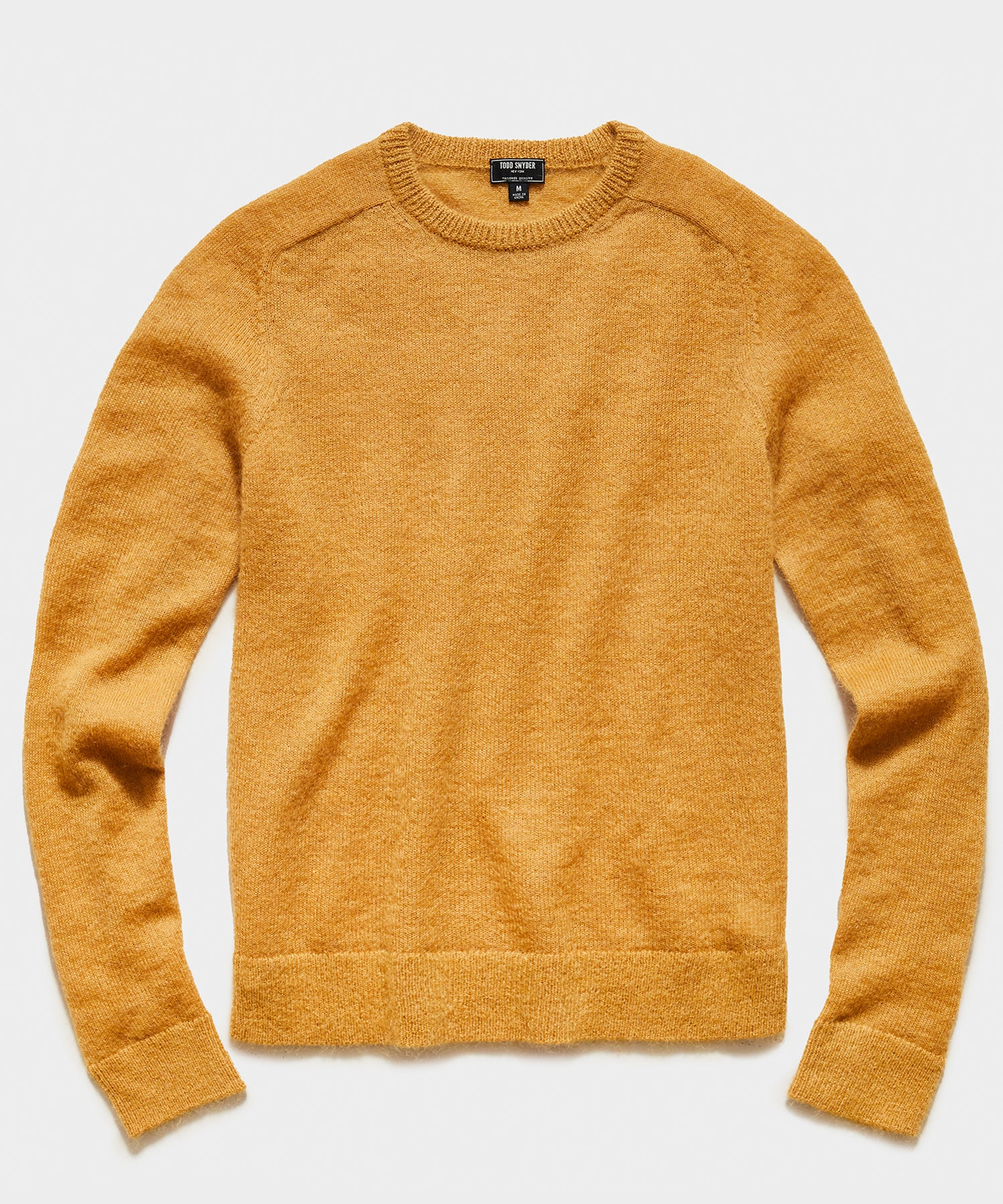 Brushed Italian Mohair Wool Sweater in Mustard