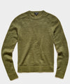 Brushed Italian Mohair Wool Sweater in Olive