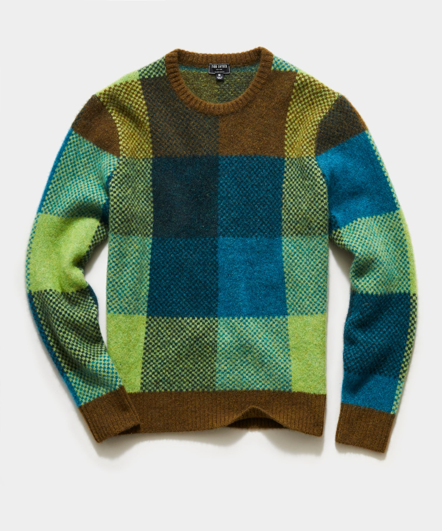 Alpaca Multi Colored Check Crew in Olive