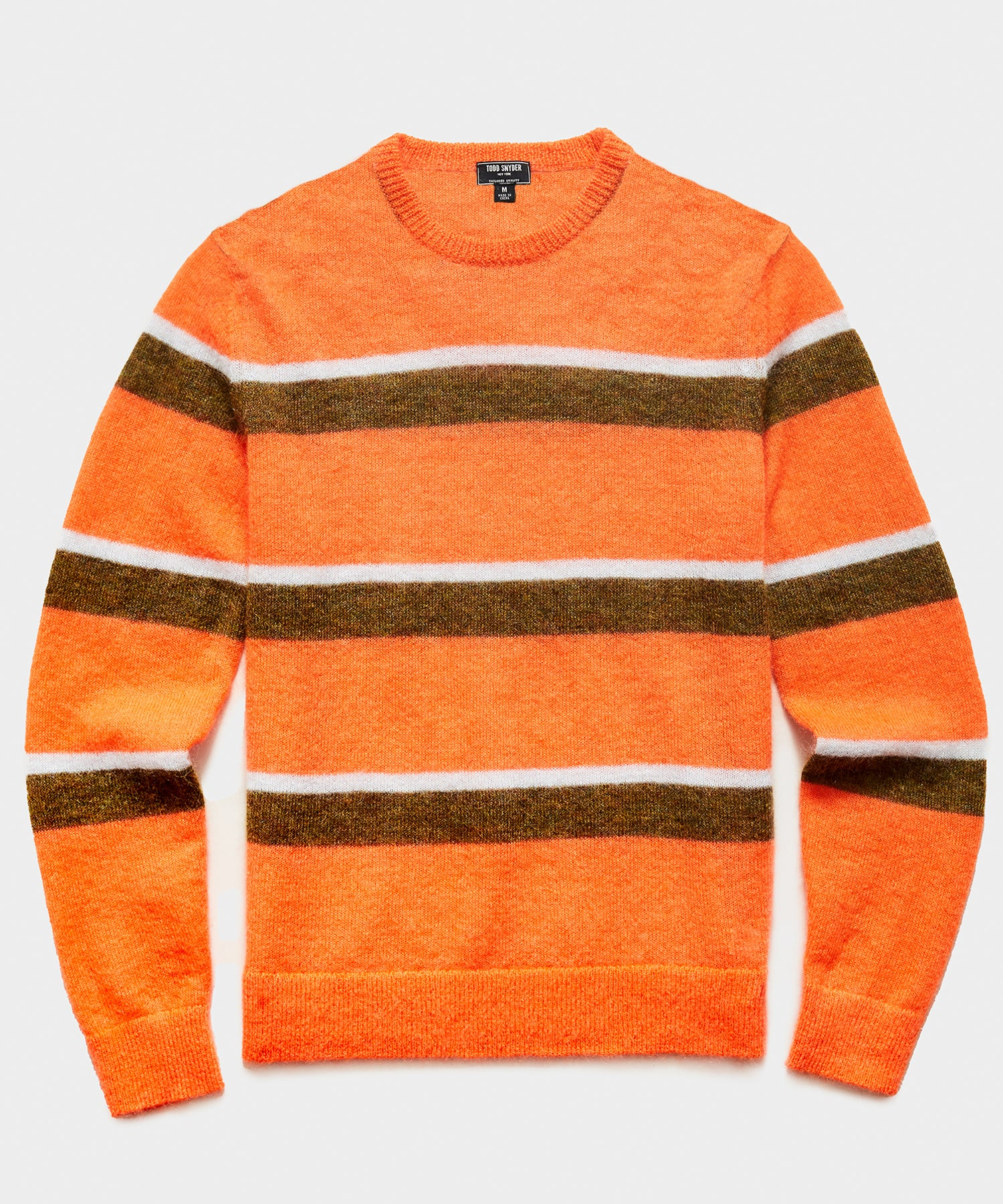 Striped Mohair Crew in Orange