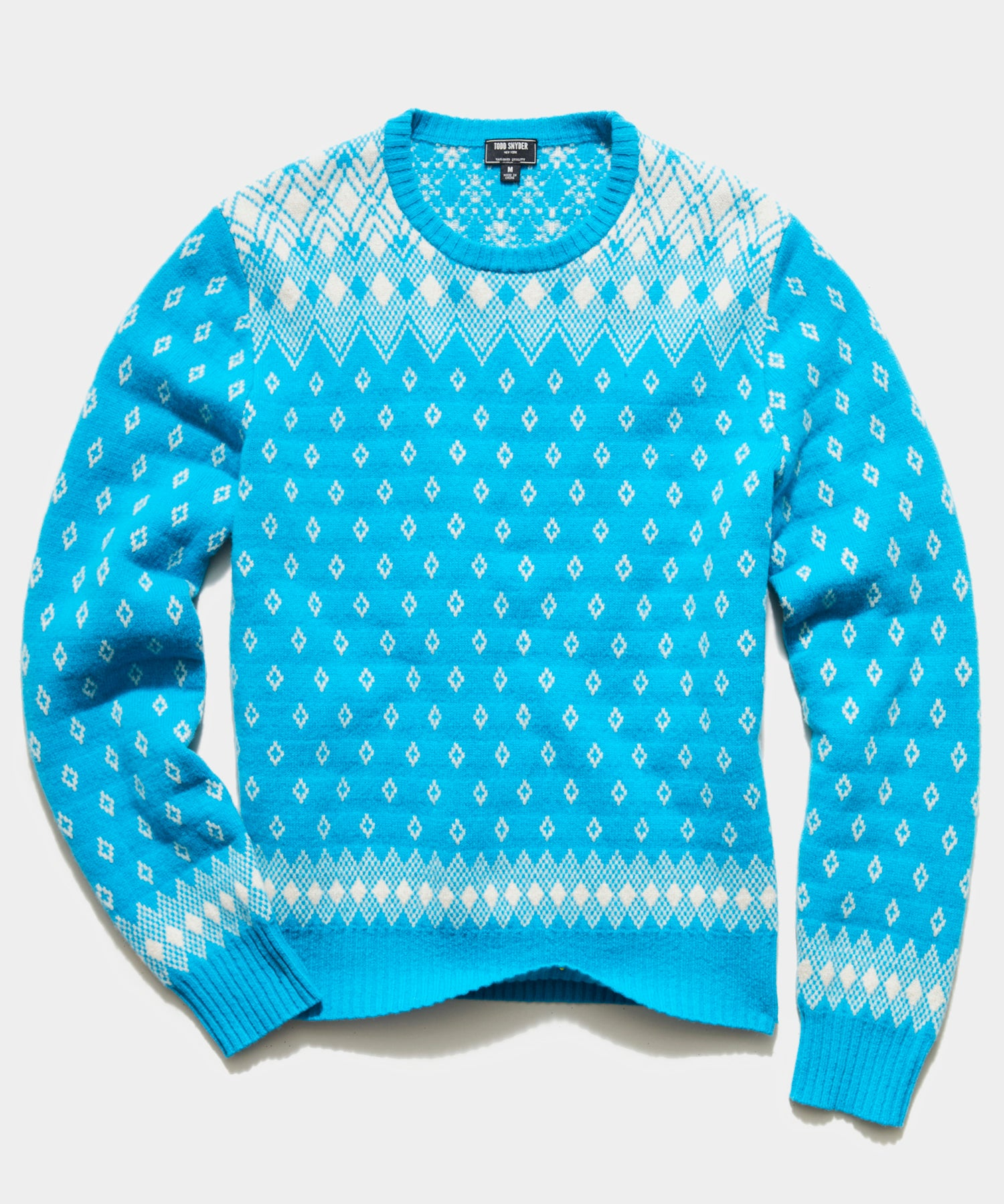 Retro Faire Isle Crew Sweater in Blue