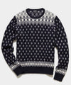 Retro Faire Isle Crew Sweater in Navy