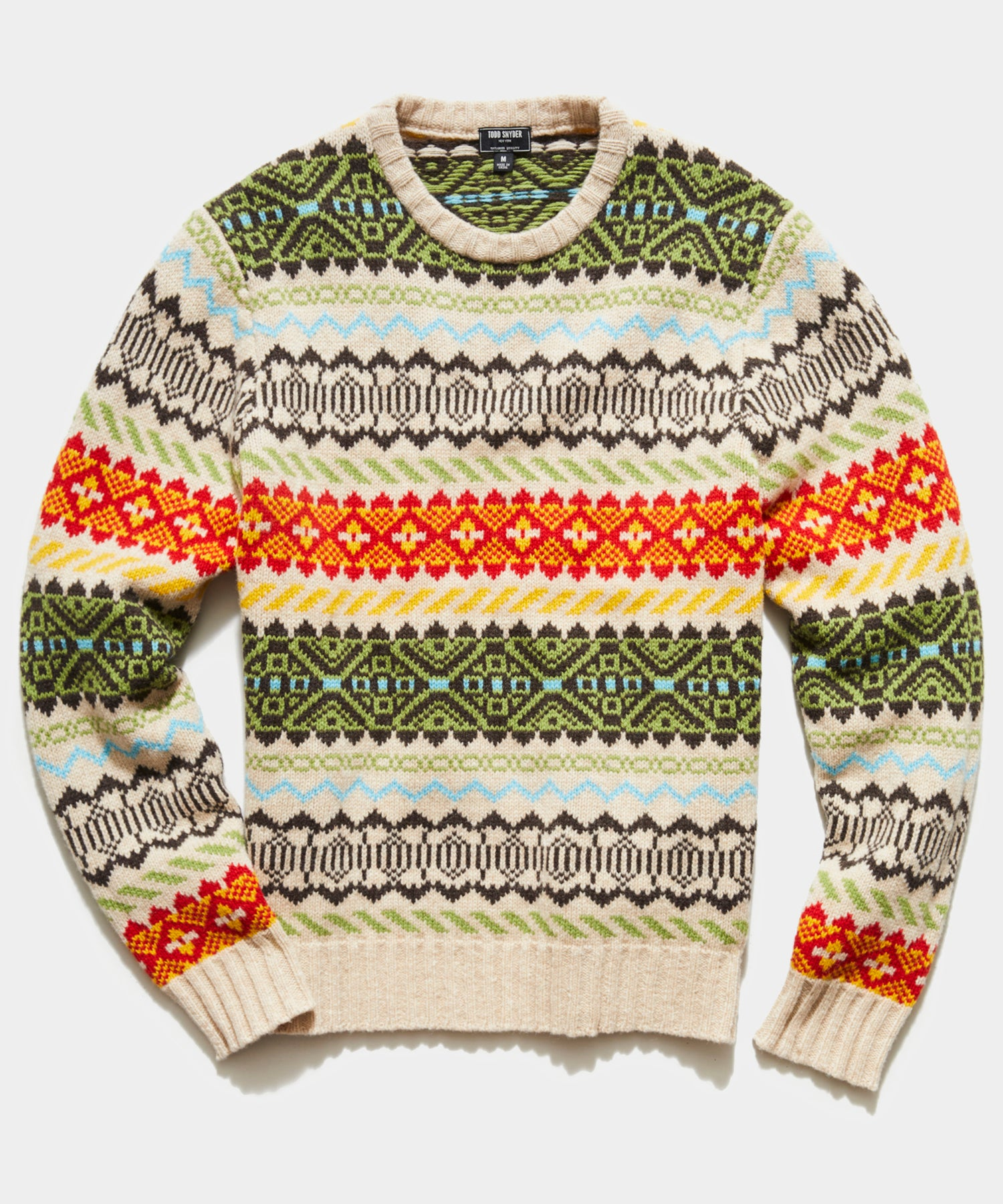 Stripe Faire Isle Crew Sweater in Cream