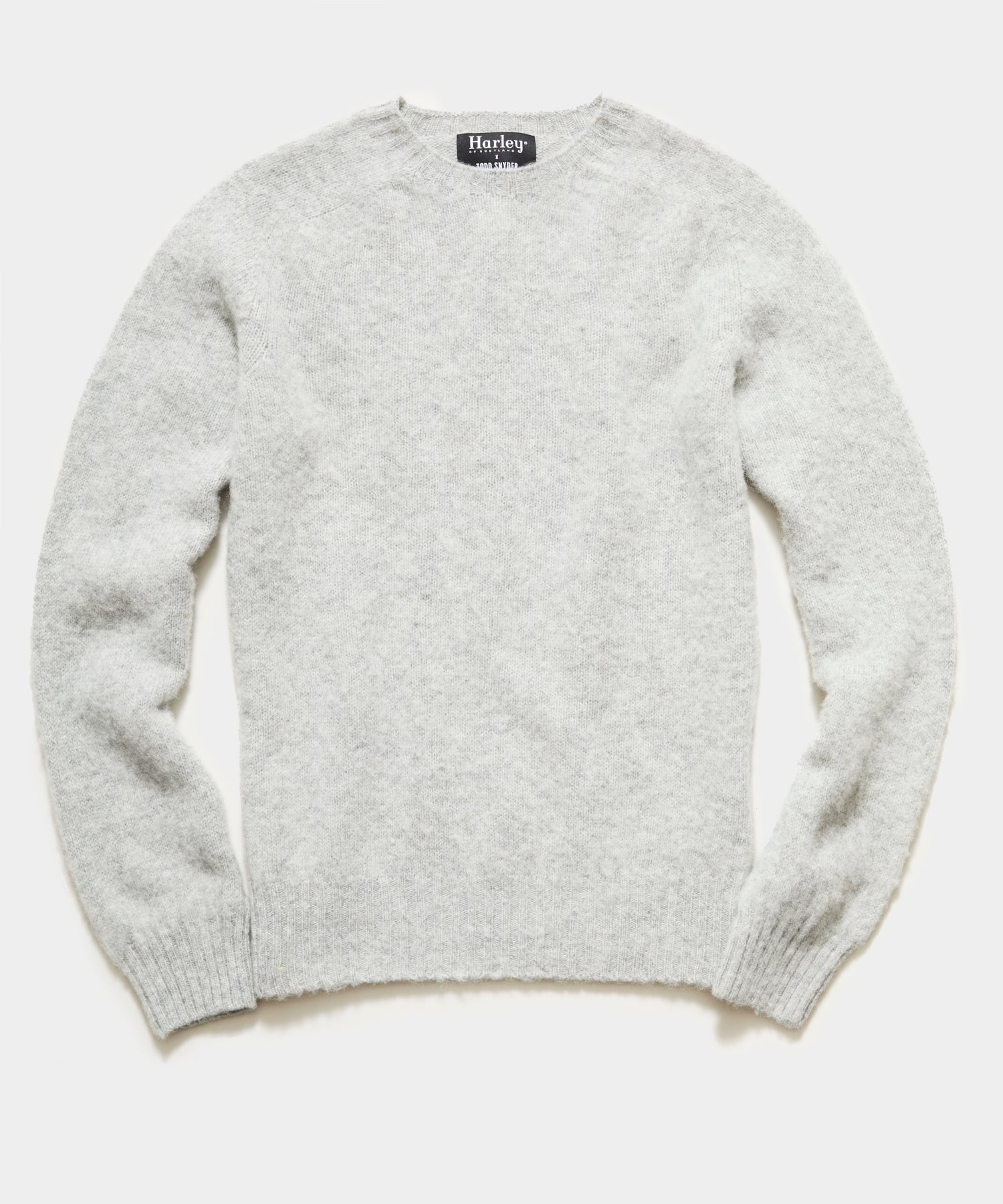Harley Brushed Lambswool Solid Crewneck in Grey