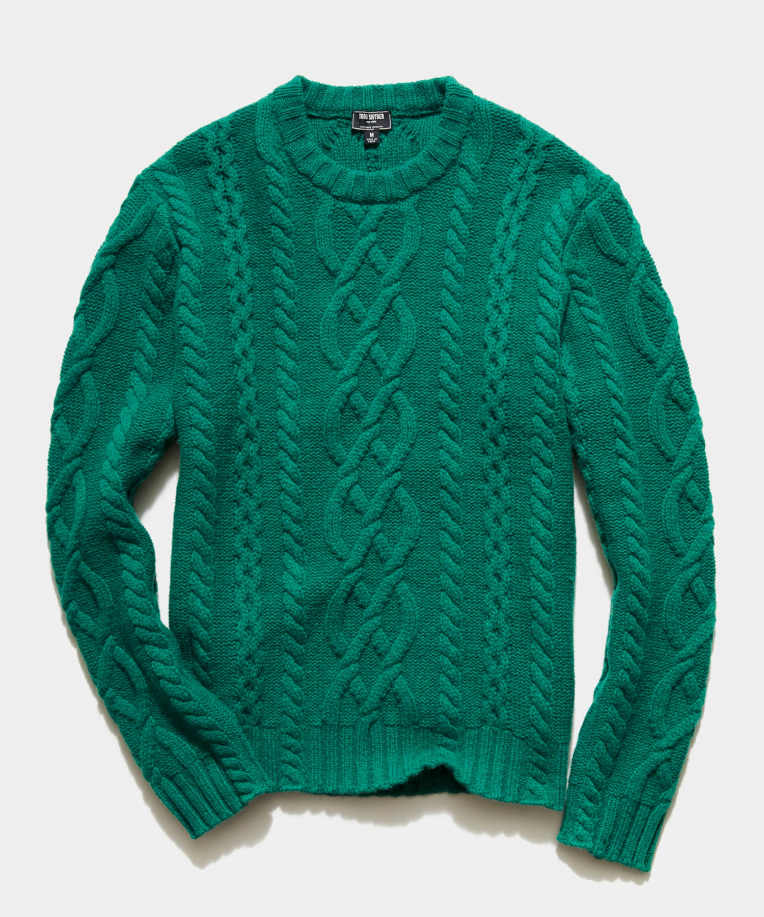 Cable Fisherman's Sweater in Kelly Green