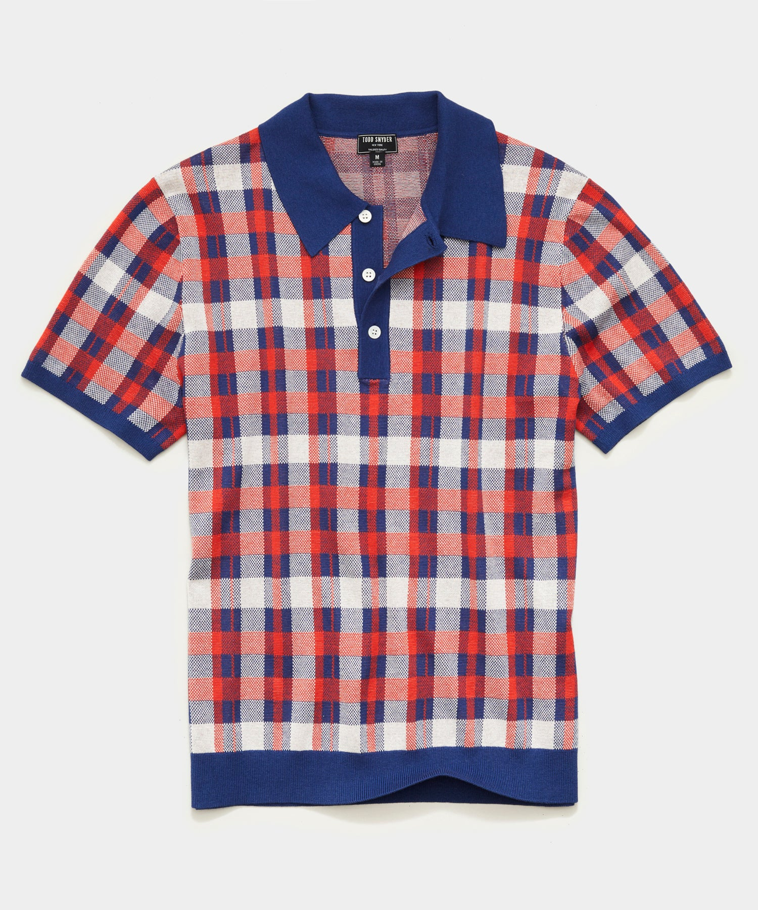 Italian Cotton Silk Short Sleeve Plaid Polo in Navy