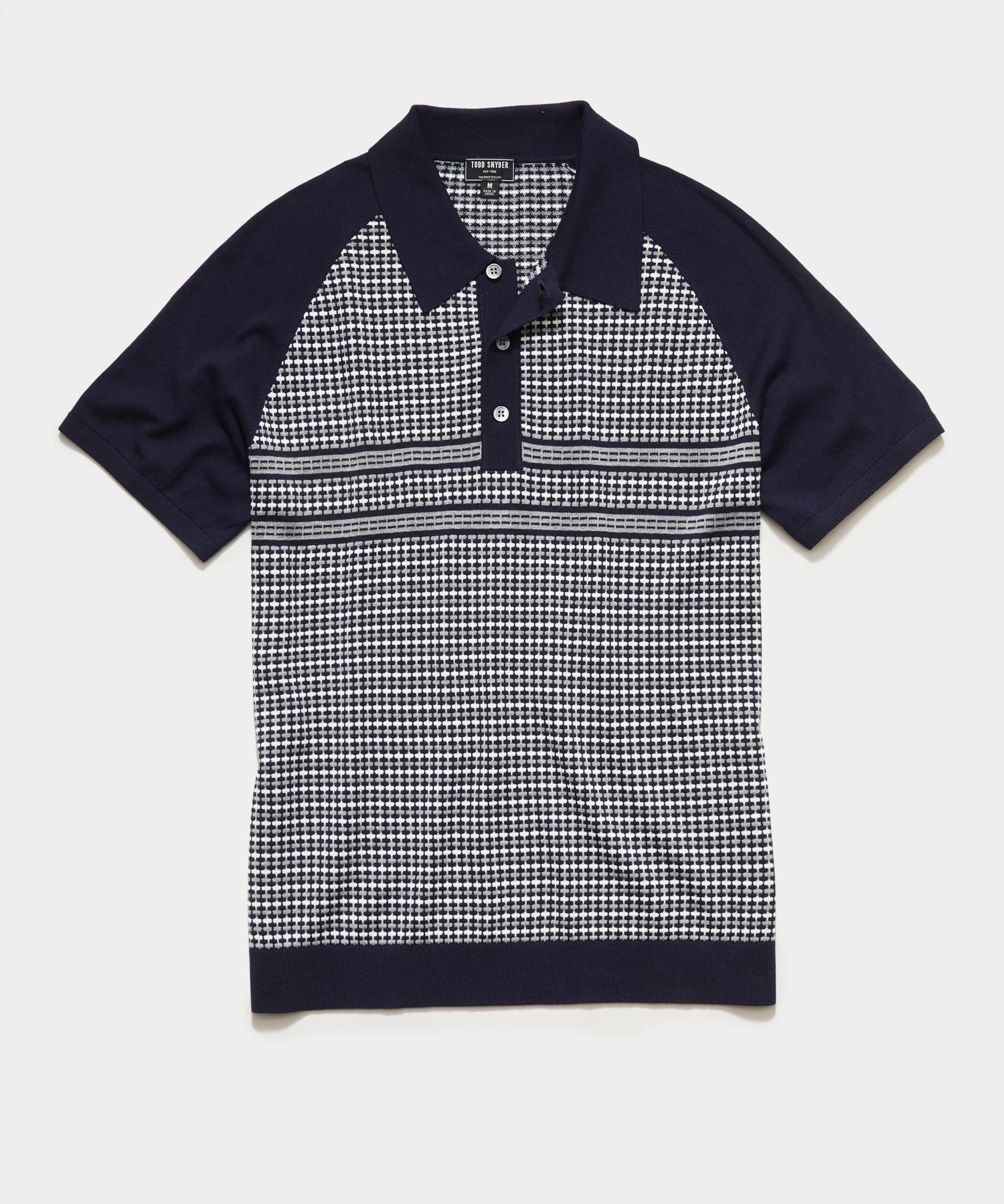 Short Sleeve Mirco Tile Raglan Sweater Polo in Navy