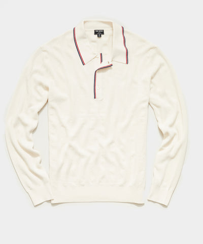 Long Sleeve Tipped Sweater Polo in Ivory