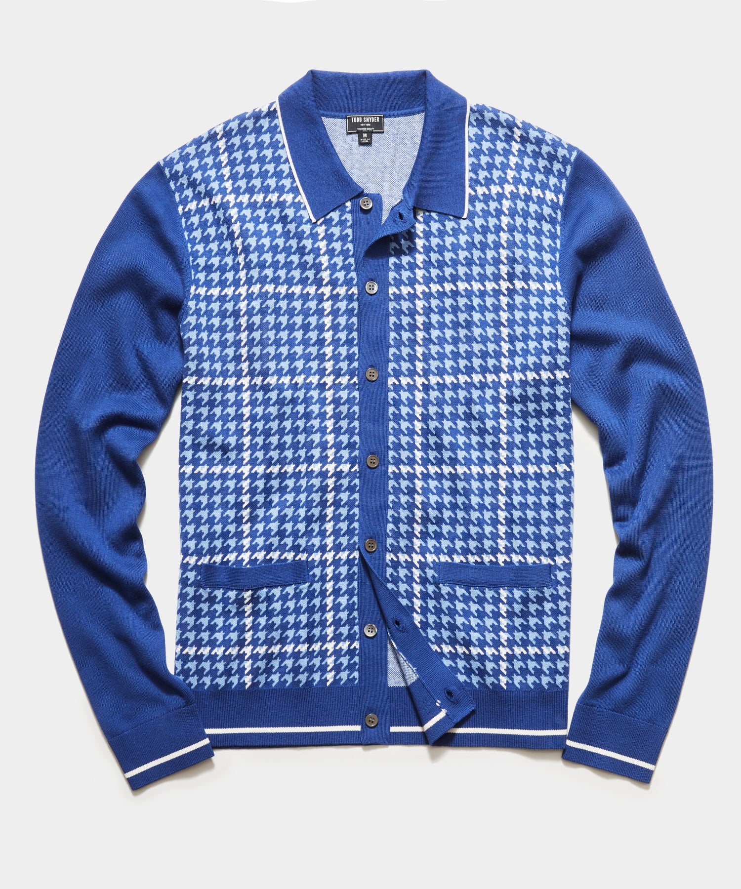 Long Sleeve Houndstooth Plaid Polo in Blue