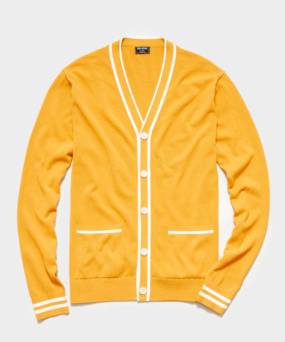 Tipped Cardigan in Yellow